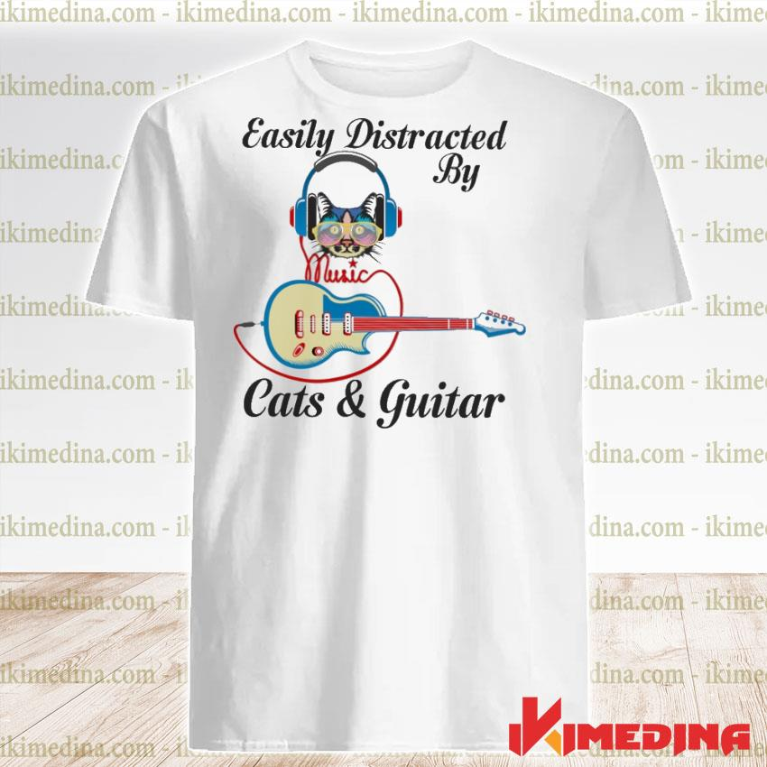 Official easily distracted by cats and guitar shirt