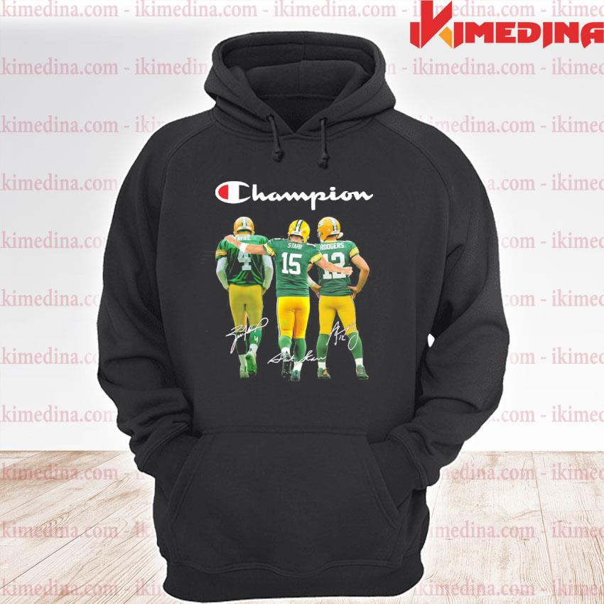 Official green bay packers favre starr rodgers champions signatures s premium hoodie