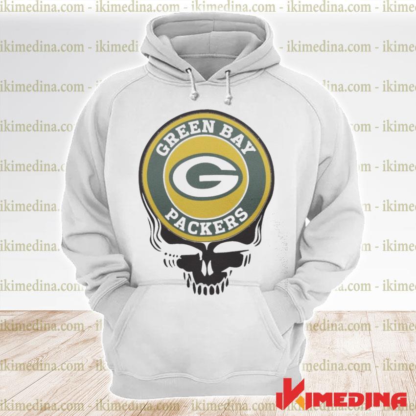 Official green bay packers football skull s premium hoodie
