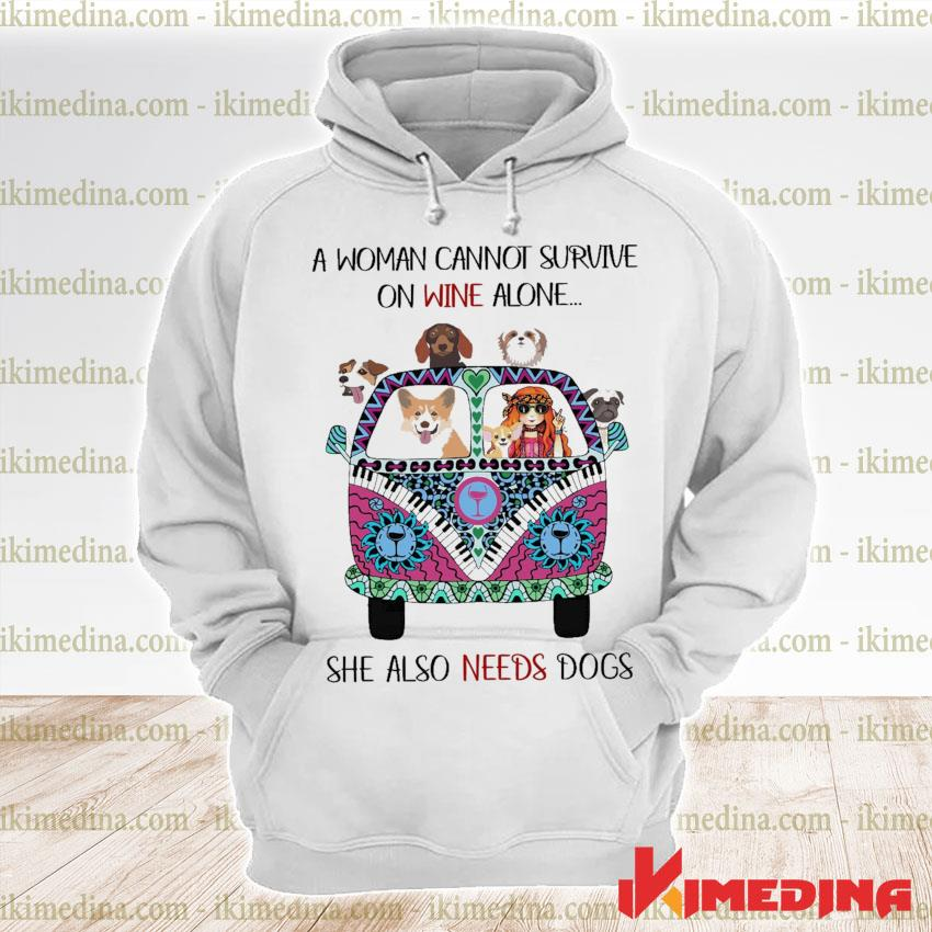 Official hippie girl a woman cannot survive one wine alone she also needs dogs s premium hoodie
