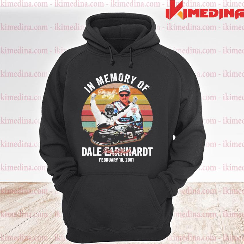 Official in memory of dale earnhardt february 18 2001 vintage signatures s premium hoodie