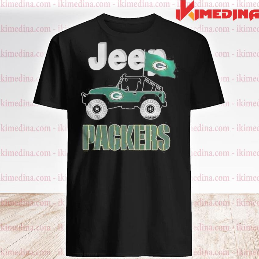 Official jeep green bay packers flag shirt