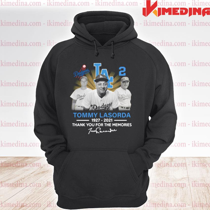 Official los angeles dodgers tommy lasorda 1927 2021 thank you for the memories signature s premium hoodie