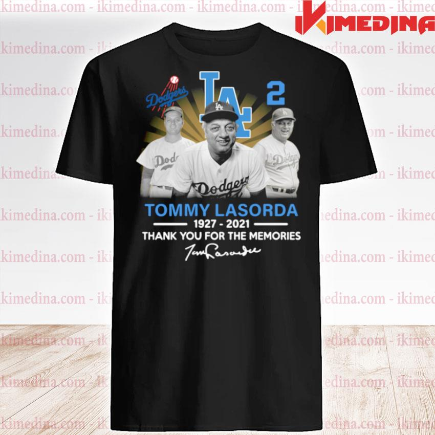 Official los angeles dodgers tommy lasorda 1927 2021 thank you for the memories signature shirt