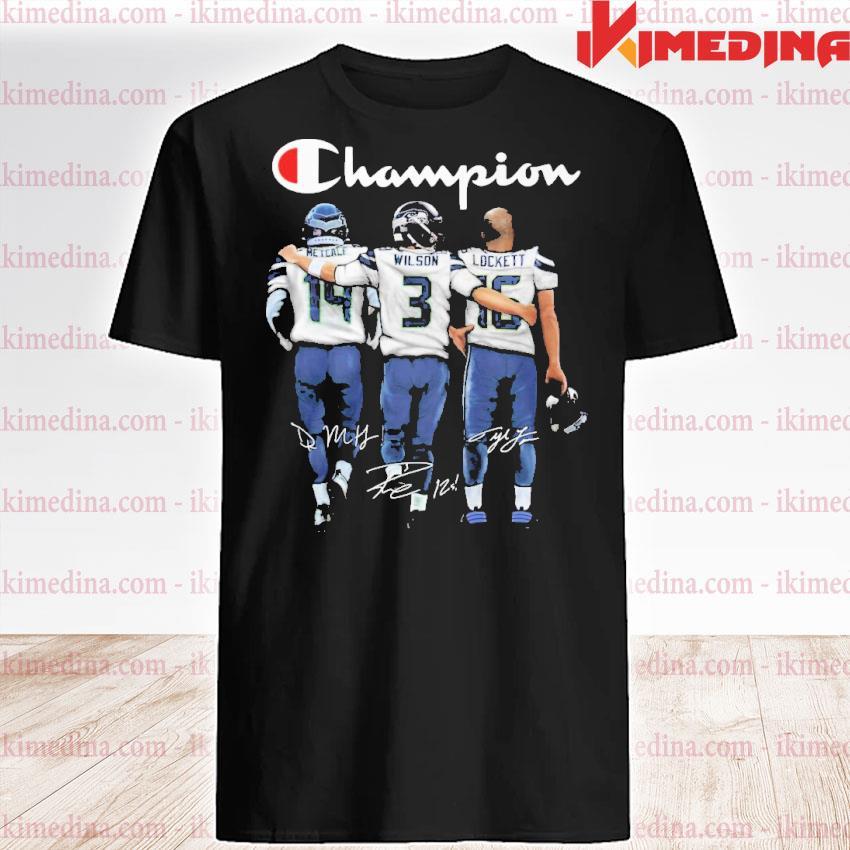 Official metcalf russell wilson and tyler lockett champions signatures shirt