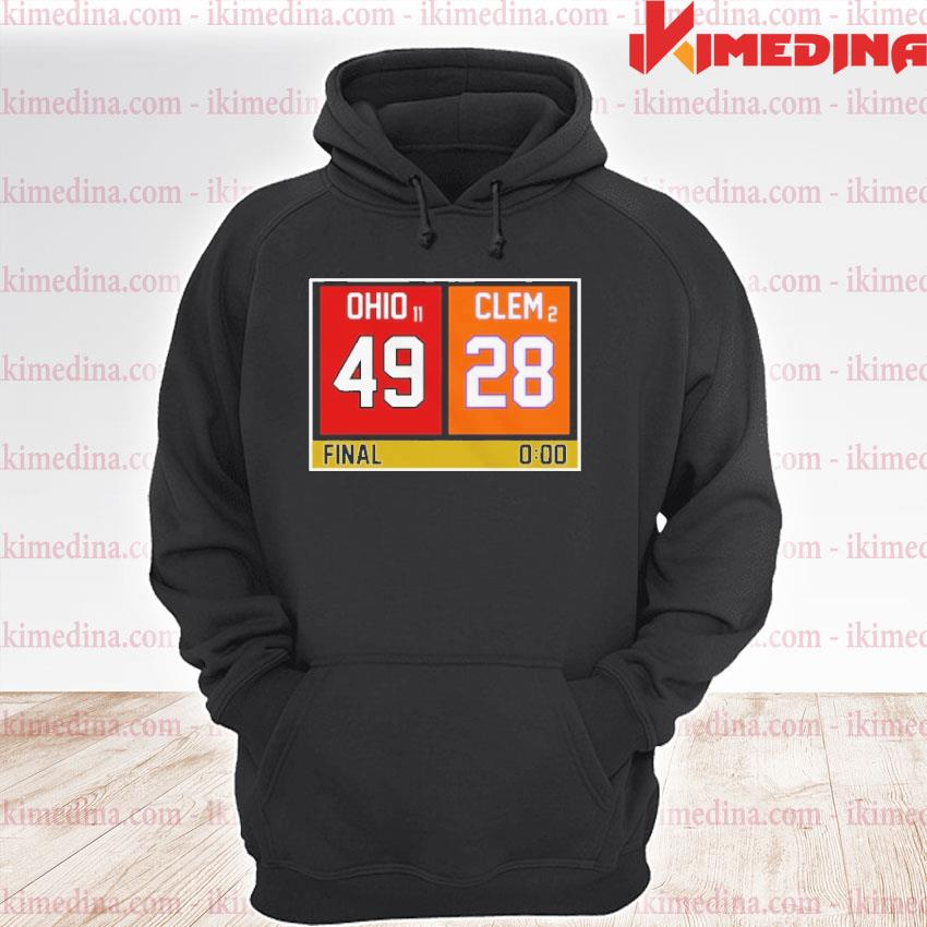 Official ohio state buckeyes vs clemson tigers 49 28 final s premium hoodie