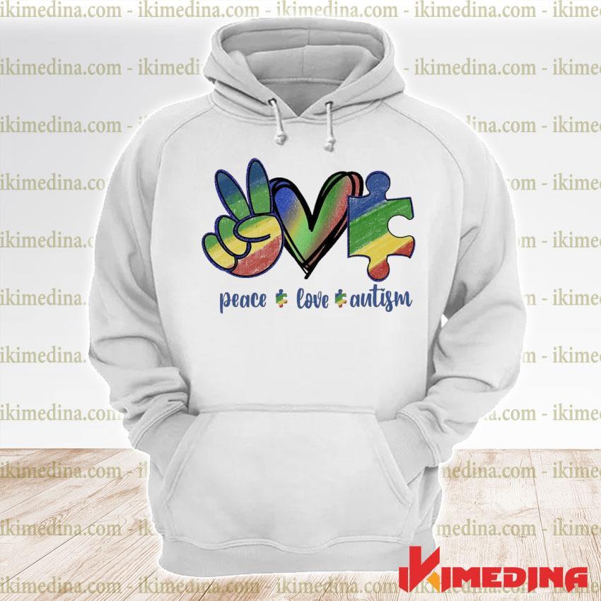 Official peace love autism s premium hoodie