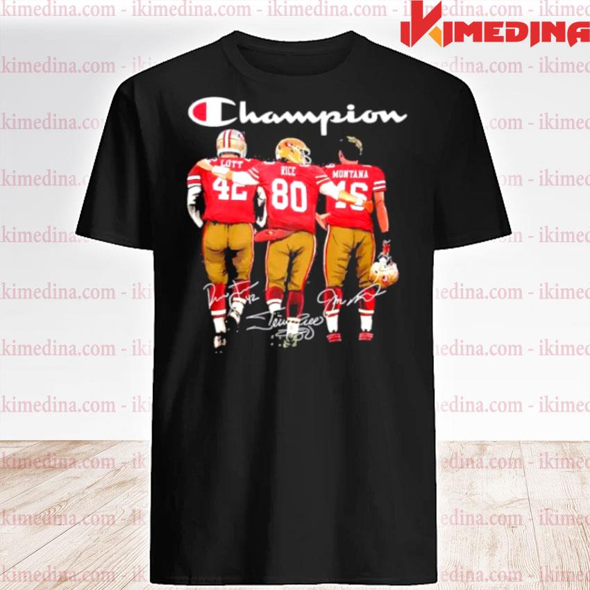 Official san francisco 49ers lott rice and montana champion signatures shirt