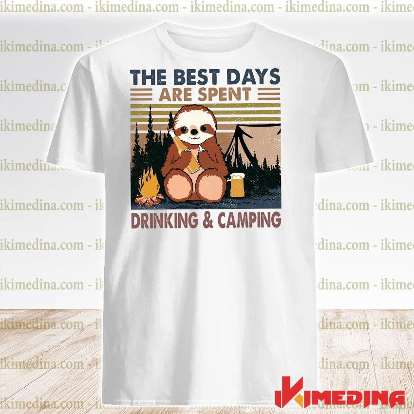 Official sloth hug beer the best days are spent drinking and camping vintage shirt