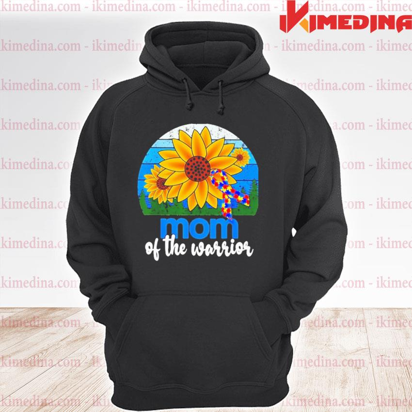 Official sunflower and breast cancer autism mom of the warrior vintage s premium hoodie