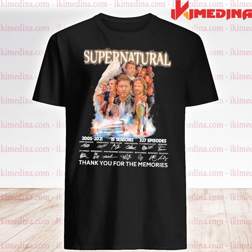 Official supernatural 2005 2021 15 seasons 372 episodes thank you for the memories shirt