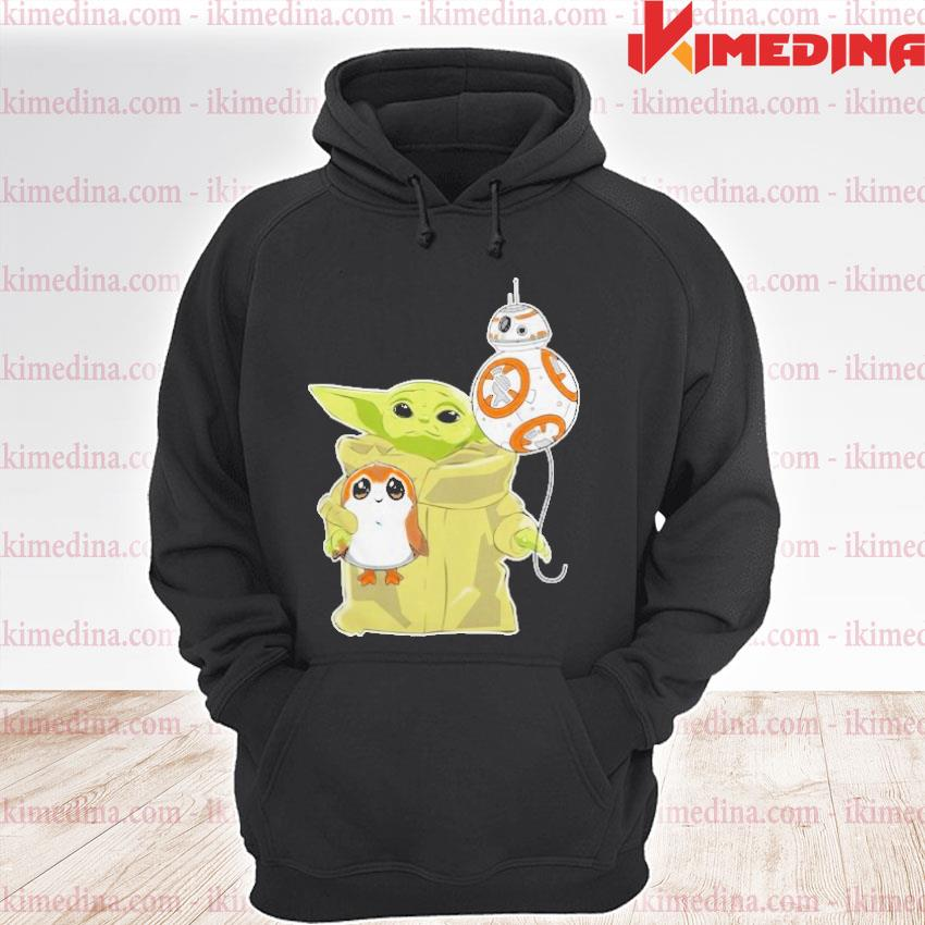 Official the mandalorian baby yoda hug sad porg s premium hoodie