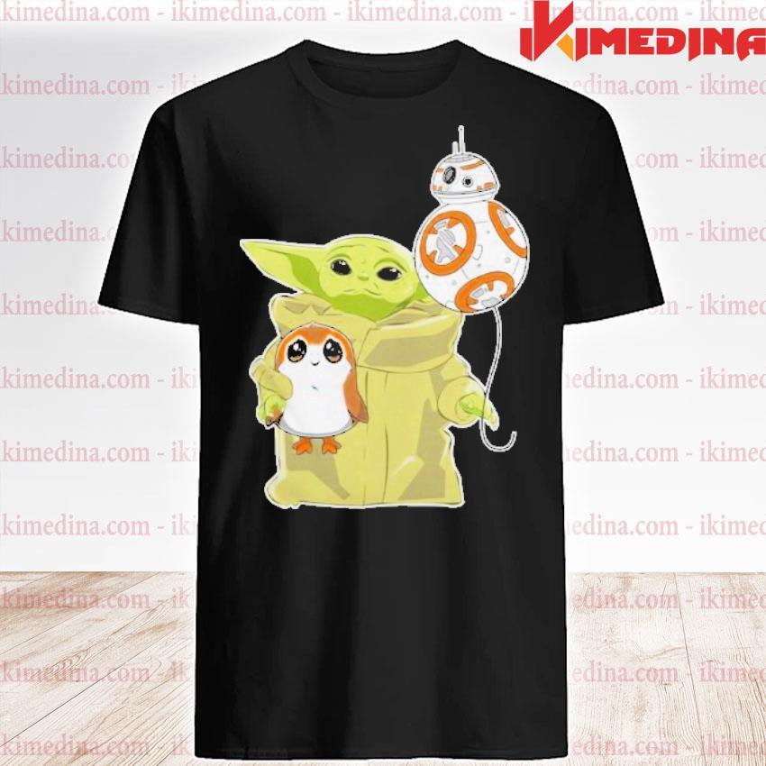 Official the mandalorian baby yoda hug sad porg shirt