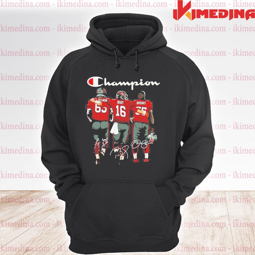 Official tom brady lee roy selmon and derrick brooks tampa bay buccaneers champion signatures s premium hoodie