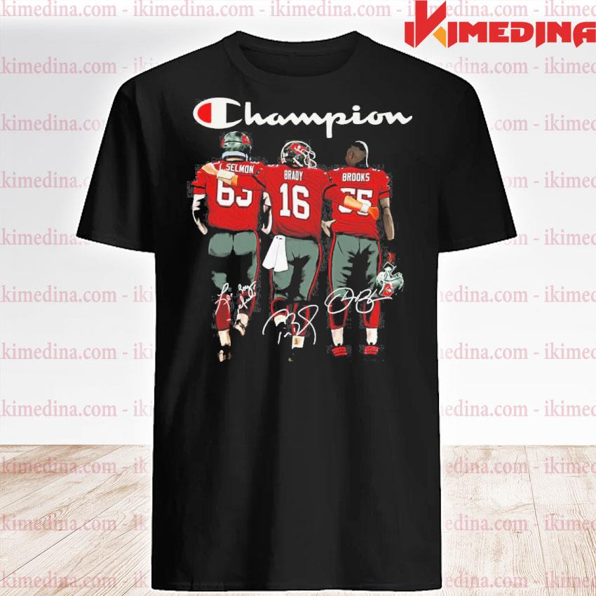 Official tom brady lee roy selmon and derrick brooks tampa bay buccaneers champion signatures shirt