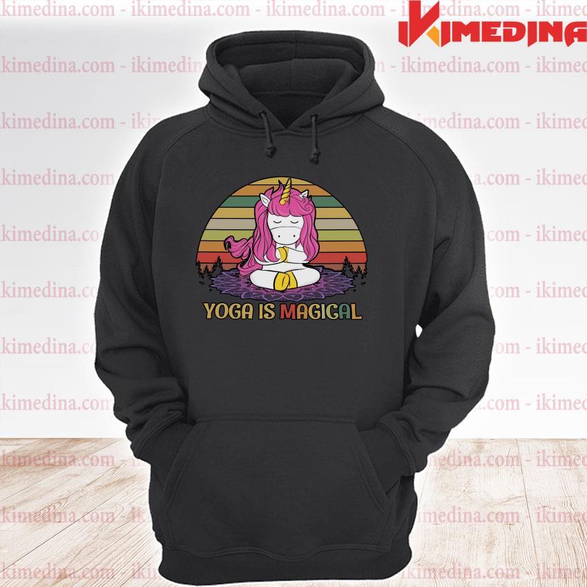 Official unicorn yoga is magical vintage s premium hoodie
