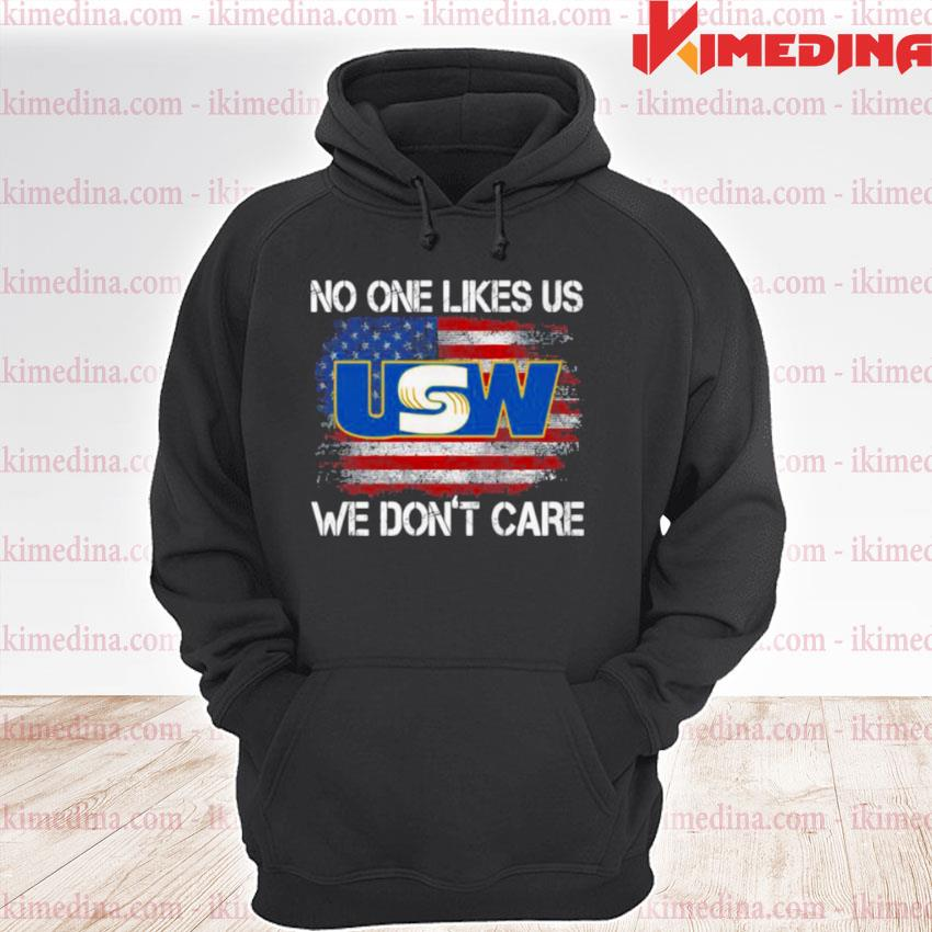 Official united steelworkers no one likes us we don't care american flag s premium hoodie