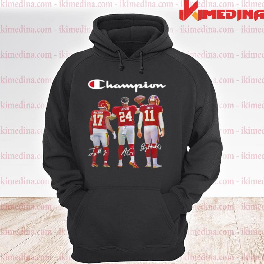 Official washington redskins champion terry mclaurin 17 antonio gibson 24 alex smith 11 2021 s premium hoodie